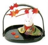『かご付兎 紅葉』 秋の風物詩  手作りちりめん細工 なごみの和雑貨 [おもちゃ&ホビー] [おもちゃ&ホビー]